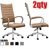 Product review for 2xhome - Set of Two (2) - Tan- Modern High Back Tall Ribbed PU Leather Swivel Tilt Adjustable Chair Designer Boss Executive Management Manager Office Conference Room Work Task Computer
