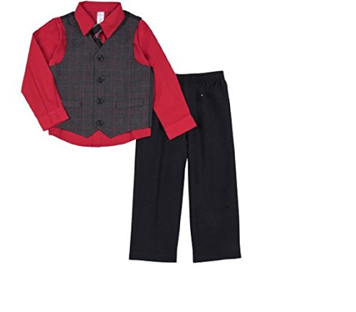 George Boys Shirt,Vest,Tie,and Pants Dress Up Outfit (Red/Black, 3T) (Bentley Tie)