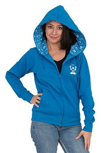 M&M's Zip up Ladies Fleece Hoodie Sweatshirt Blue (Juniors X-Large)