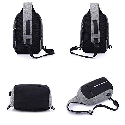 Mocha weir Bolsas de hombro con puerto de carga USB (Negro) Gris