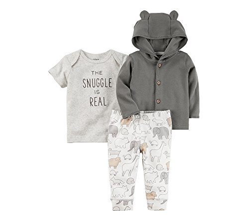 Carter's Baby 3 Piece The Snuggle Is Real Tee, Hooded Cardigan, Animal Pants Set 9 Months