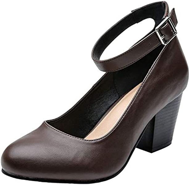ce33b130c957 Luoika Women s Wide Width Heel Pump Shoes - Ankle Buckle Strap Round Closed  Toe Dressing Shoes