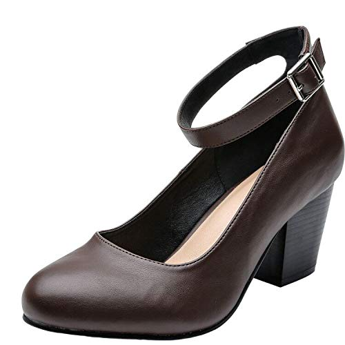 Luoika Women's Wide Width Heel Pump Shoes - Ankle Buckle Strap Round Closed Toe Dressing Shoes. (Brown PU 180320,10WW) (Womens Dressing Shoes)