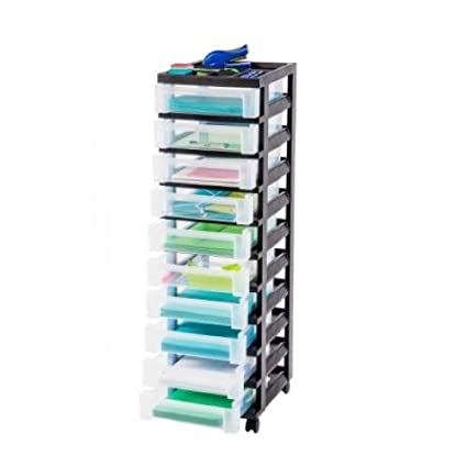 Ordinaire IRIS 10 Drawer Rolling Cart With Organizer Top Black, MC 3100 TOP