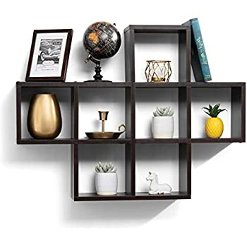Amazon.com: floating shelves with 10 square Cube wall ...