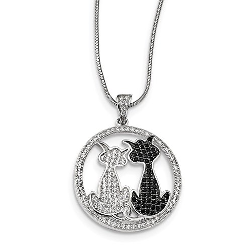 Diamond2Deal 925 Sterling Silver White CZ Initial H Pendant