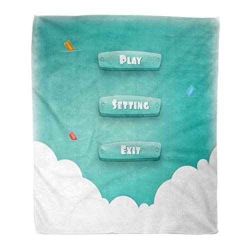 Semtomn Flannel Throw Blanket Abstract Creative Interface Game Resource Bar and for Games Soft for Bed Sofa and Couch 50x60 Inches