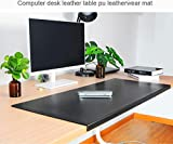 Non-Slip Soft Leather Surface Office Desk Mouse Mat Pad with Full Grip Fixation Lip Table Blotter Protector 35.4'x 15.8' Leather Mat Edge-Locked(Black)