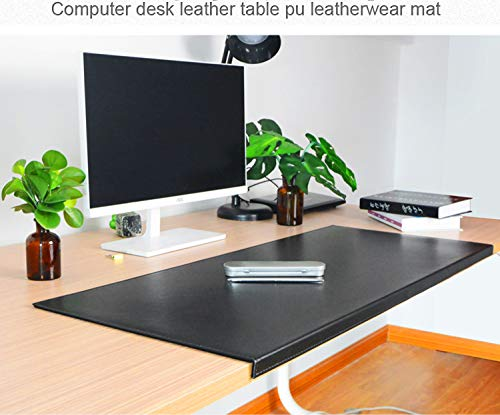 Non-Slip Soft Leather Surface Office Desk Mouse Mat Pad with Full Grip Fixation Lip Table Blotter Protector 35.4