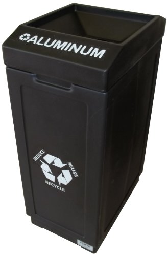 Forte Products 8001845 Open Top Recycle Bin with Aluminum Graphic, 14.5
