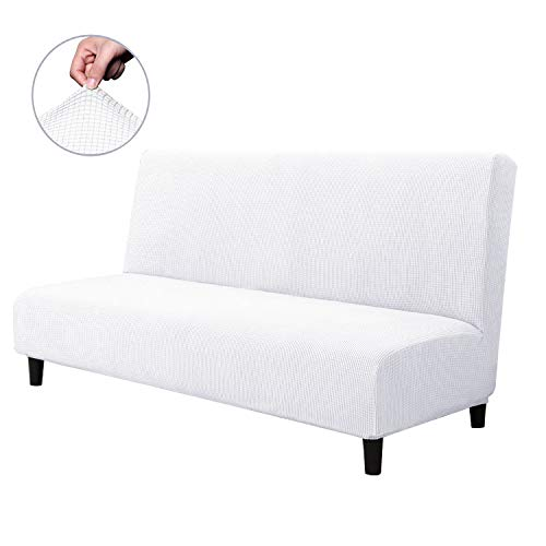 CHUN YI Armless Sofa Slipcover Elastic Fitted Full Folding Sofa Bed Cover Without Armrests,Removable Machine Washable Non-Slip Furniture Protector for Futon Couch Bench (Sofa, White)