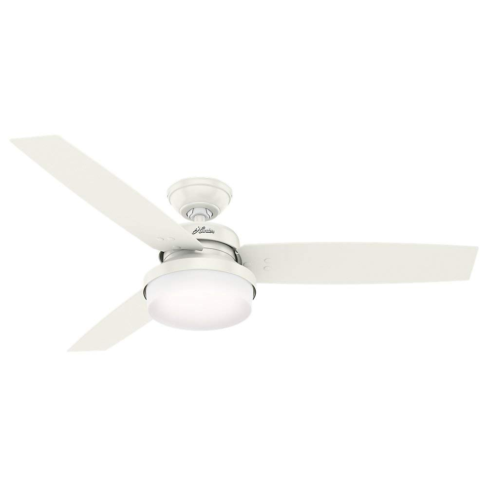 Hunter 52'' Sentinel Fresh White Ceiling Fan with Light with Handheld Remote