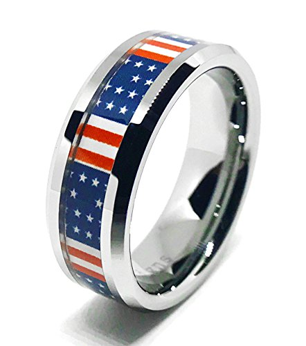 American Flag Ring - American Flag USA Ring - Unisex For Women and Men 8mm by Southern Designs (10)