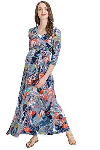 Hello MIZ Women's Floral Print Draped 3/4 Sleeve Long Maxi Maternity Dress (Navy Geo, XL)