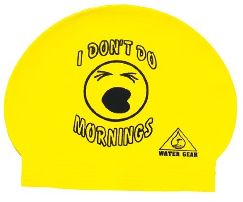 Water Gear I Don't Do Mornings Latex Swim Cap