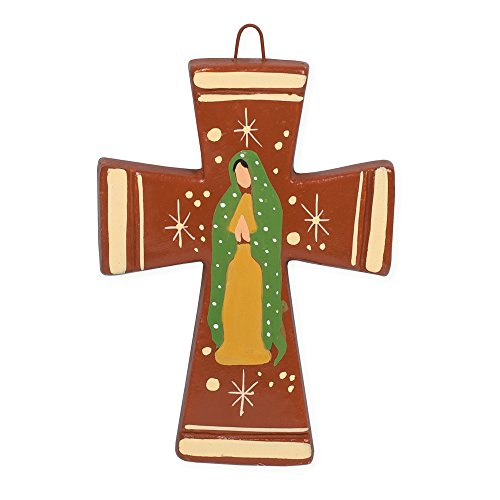 Our Lady of Guadalupe Red 5 x 4 Inch Handcrafted Clay Wall Hanging Cross