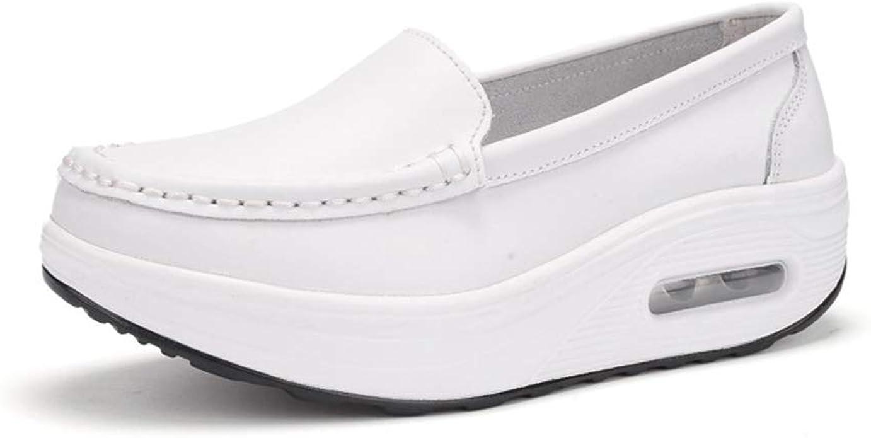 Mujeres Mocasines Pisos Cuñas Blancas Enfermera Zapatos Caminar Fitness Casual Resbalón en Zapatillas de Deporte