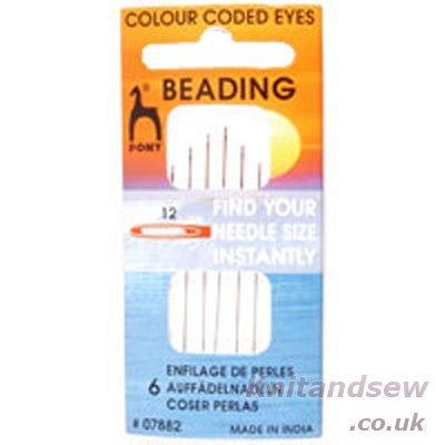(Pony Size 12 Beading Colour-Coded Eye Needles)