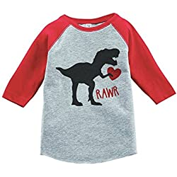 Custom Party Shop Kids Dinosaur Happy Valentine's Day 5T Red Raglan