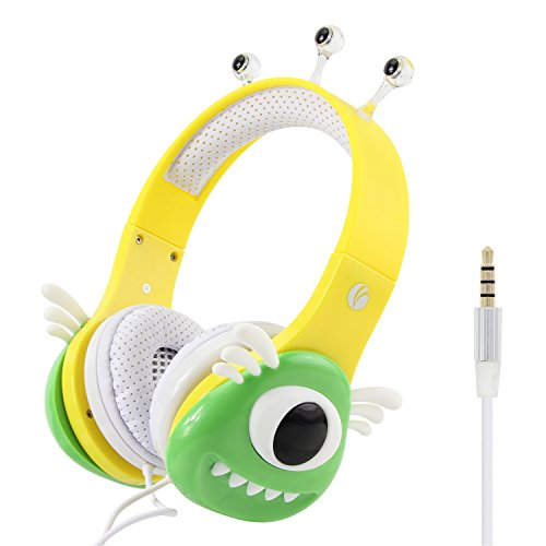 VCOM Kids Headphones, Alien Monster Design Over Ear Headsets with Volume Limiting Feature for iPad iPhone Smartphones Kindle Fire Tablet Computers Laptop- Perfect Gift for Children - Green/Yellow