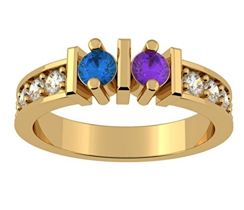 NANA Straight Bar w/Side CZs Couples 2 stones Ring with His & Hers Simulated Birthstones - 10k Yellow Gold - Size 11 by NaNa