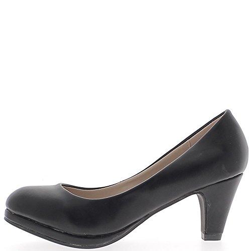 Escarpins femme noirs brillants à petits talons de 6,5cm