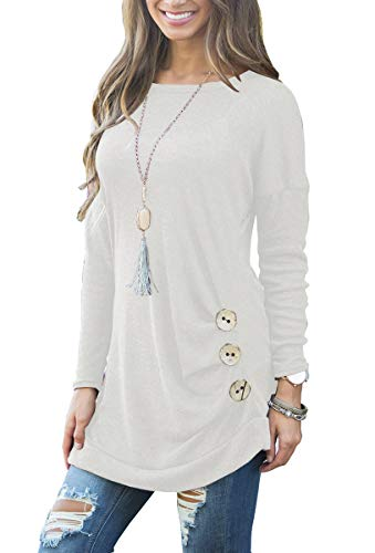 b4af09c94d Muhadrs Womens Long Short Sleeve Casual Round Neck Loose Tunic Top Blouse T- Shirt