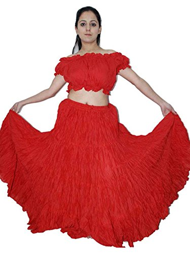 Wevez Women's Belly Dance Cotton 12 Yard Skirt, One Size, Red