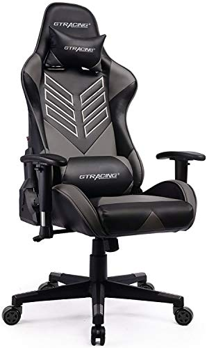 Gaming Chair Office Racing Executive Computer Desk Chair PU Leather High Back Ergonomic Swivel Chair with Headrest Lumbar Support Gray