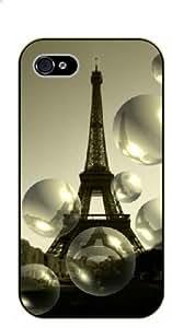 For LG G2 Case Cover Bubbles, Eiffel Tower - black plastic case / Paris, France