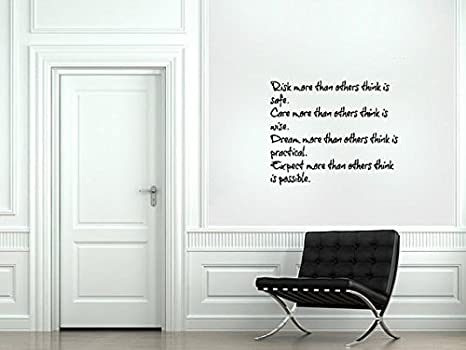 Risk Safe Care Wise Dream Practical Expect Possible Quote Citation Saying Words Wall Decal Vinyl Sticker Mural Room Decor L1135