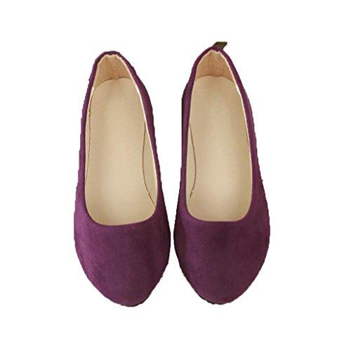 Lieber Zeit Frauen Flache Schuhe Bequeme Slip On Spitz Ballerinas Lila
