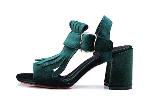 GLTER Mujeres Peep Toe Bomba Frosted suede cinturón hebilla de tacón alto Sandalias Slingback bomba green