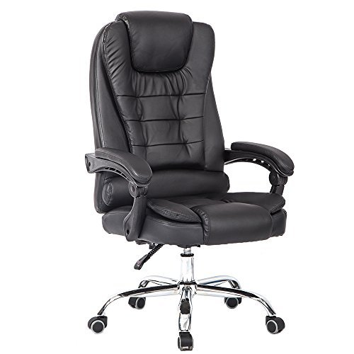 Ergonomic Recliner Leather (High Back Big and Tall Executive Office Chair Ergonomic Comfortable Heavy Duty Leather Swivel Recliner Task Chairs With Lumbar Support Black)