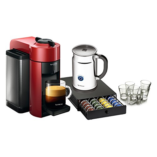 Best Nespresso VertuoLine Evoluo Cherry Red Coffee and Espresso Maker Bundle with Aeroccino Plus, 40 Capsule Storage Drawer and Free Set of 6 Espresso Glasses (online)