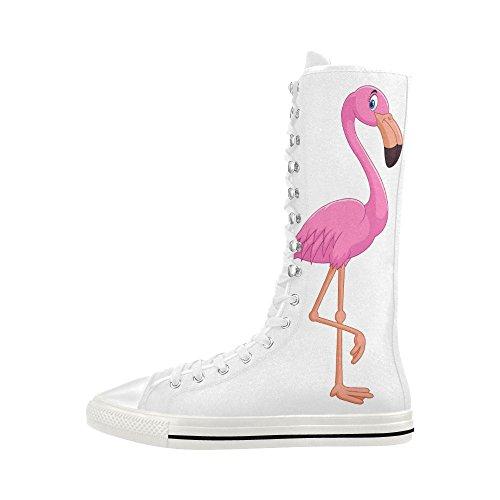 Impressionprint Flamingo Impression Lace Bottes Longues Pour Les Femmes