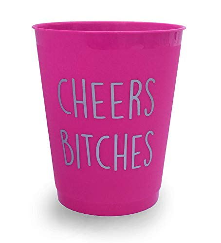 Cheers B*tches Party Drinking Cups - Bachelorette/Night Out/Celebration -Pack of 10 Hot Pink & Silver ()