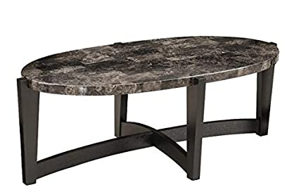 Amazoncom Wood Coffee Table With Faux Stone Marble Top Oval