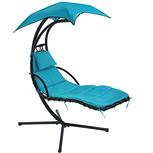 FDW Patio Chair Hanging Chaise Lounger Chair Floating Chaise Canopy Swing Lounge Chair Hammock Arc Stand Air Porch Stand for Outdoor Indoor