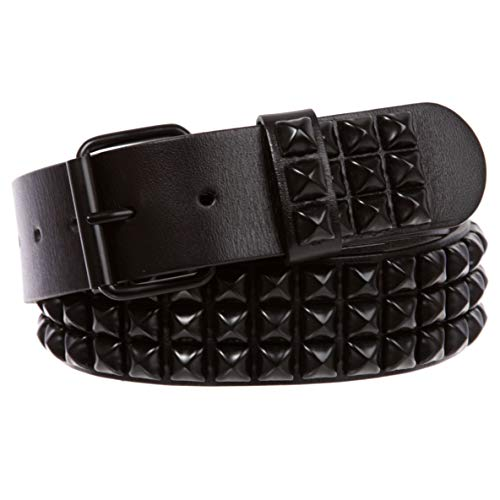 Three Row of Punk Rock Star Metal Black Studded Leather Belt, 42