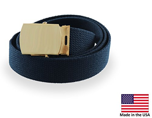 Cargo Cotton Military Brass Buckle Web Belt (Navy) (Cotton Buckle Thick Belt)