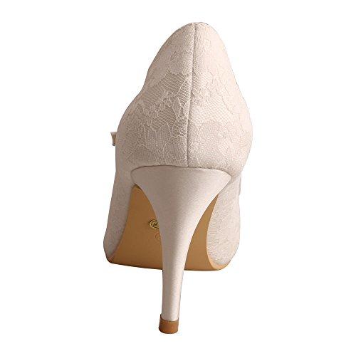 Wedopus Mg3031 Donna Mary Jane Pumps Scarpe Con Tacco Alto In Pizzo E Scarpe Da Sposa Avorio
