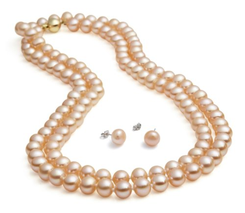 Pearl Freshwater Necklace Peach (Rolicia 65inches 165cm Freshwater Cultured Pearl Necklace Earrings Gift Box (Peach))