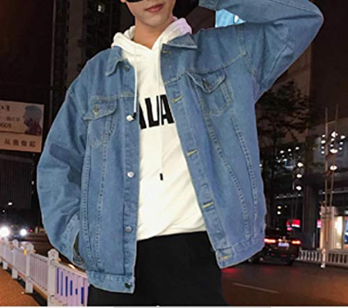 Colletto Lavaggio down Mens Turn Vintage Mogogo Outwear Denim up Blu Button BXSRq5x