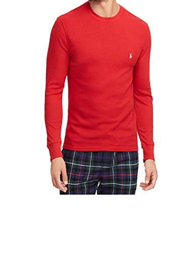 (Polo Ralph Lauren Men's Waffle-Knit Thermal Shirt (M, Graphic Red))