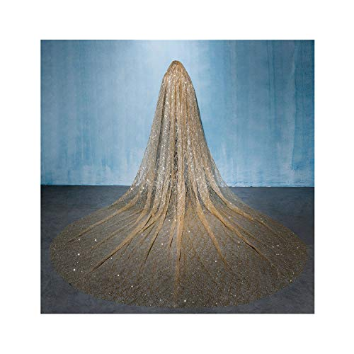Champagne Gold Wedding Veil 4M Long Bling Veil Bridal Cathdral Veil With Comb Bridal Accessories -