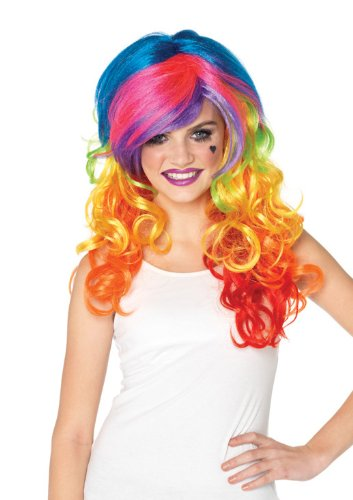 [Leg Avenue Rainbow Rocker Wig, Multi-Color, One Size] (Women's Clown Wig)
