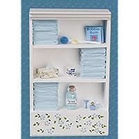 Town Square Miniatures Dolls House Miniature Bathroom Furniture Shelf Unit L Blue Towels & Accessories