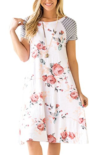 ECOWISH+Womens+Floral+Print+Striped+Casual+Short+Sleeve+T-shirt+A-line+Midi+Dress