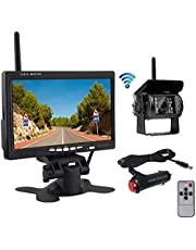 Liehuzhekeji Wireless Car Backup Camera and Monitor Kit, Waterproof Night Vision Wireless Rear View Camera 7 Inch HD LCD Monitor Parking System + Car Charger for 12V-24V Truck RV Trailer Camper Bus